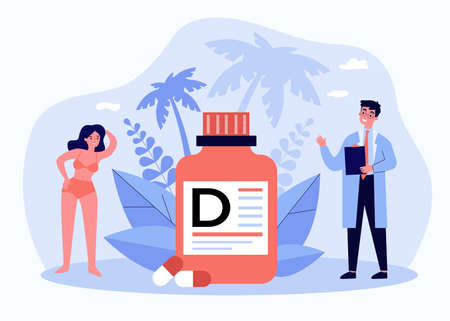 Tiny doctor recommending vitamin D for wellbeing Illustration