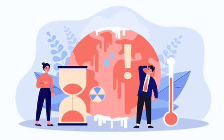 Tiny people worrying about ice melting on planet Ilustração