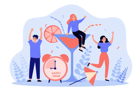 Cheerful young people enjoying party Illustration