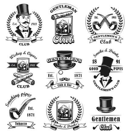 Gentlemen club emblems set