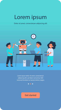 School robotics project. Group of children with laptop and remote control creating cyborg, presenting humanoid robot. Flat vector illustration for childhood activity, education, innovation concept