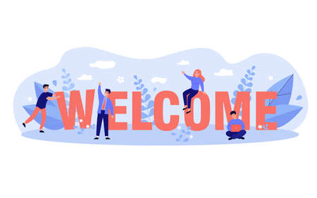 Happy business team welcoming new person to their company