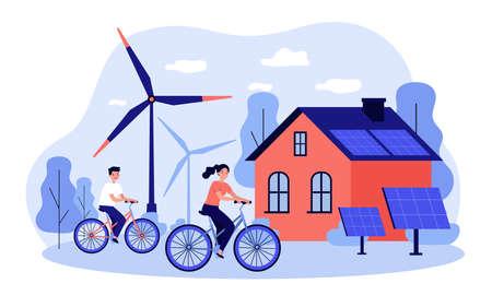 People riding bikes by windmills Illustration