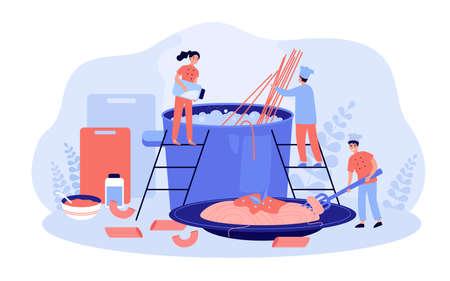 Restaurant chef and his team cooking pasta Stock Illustratie