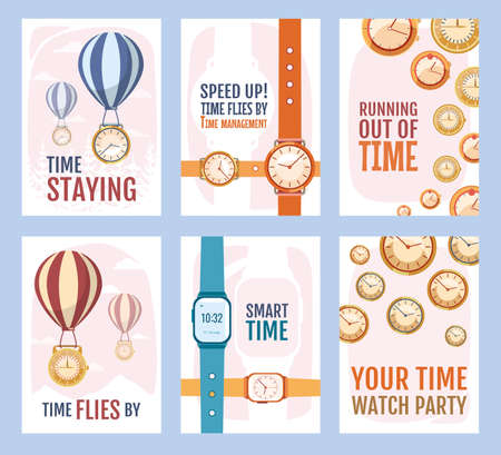 Futuristic promo banner design with watches