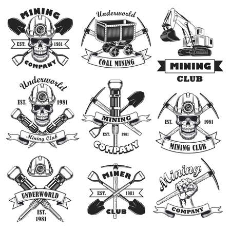 Black and white coal mining company flat stamp set
