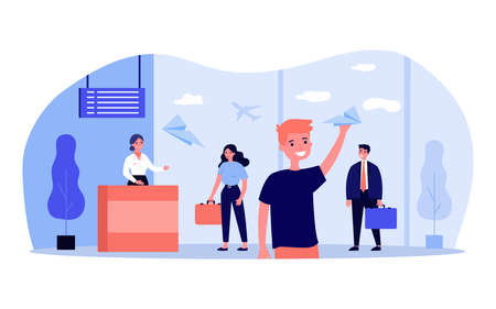People checking-in in airport flat vector illustration