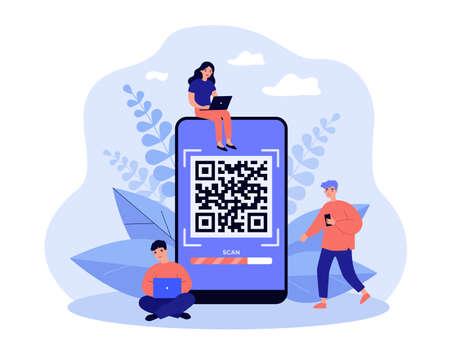 Tiny people scanning QR code
