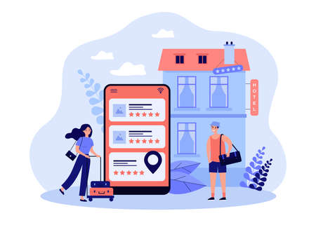 Tiny tourists booking hotel online