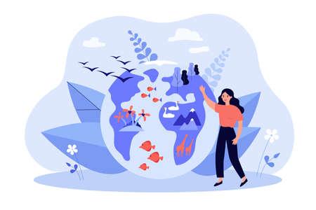 Tiny woman near globe with various flora and fauna