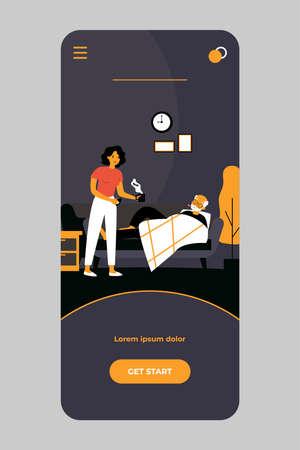 Woman taking care about senior man with flu Ilustracje wektorowe