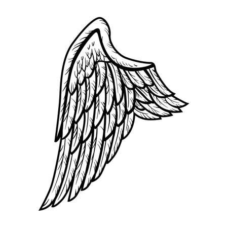Retro black tattoo wing