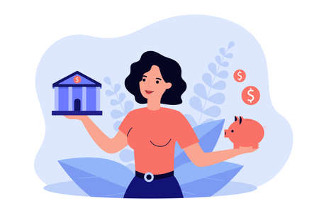 Woman choosing between bank and piggybank