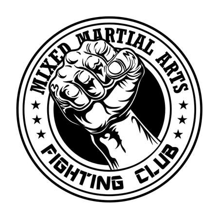 Fight club emblem with fist 矢量图像