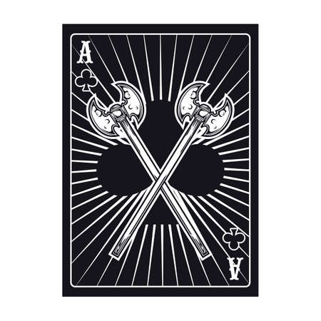 Playing poker card with two crossed axes