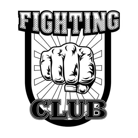 Fight club round emblem with fist
