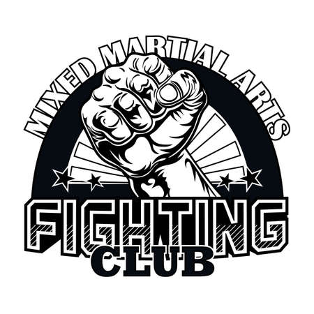 Fight club emblem with big fist