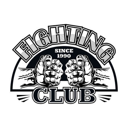 Flat emblem for fight club with two fists 矢量图像