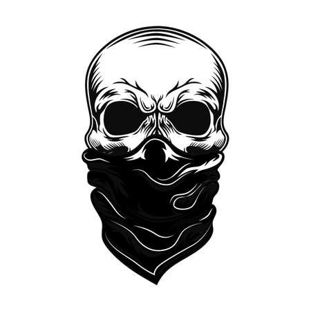 Skull with bandana vector illustration