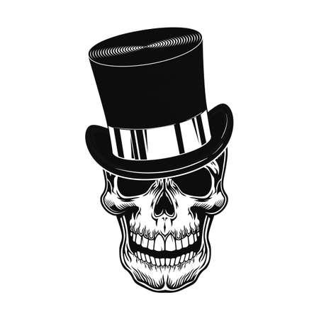 Skull in top hat vector illustration
