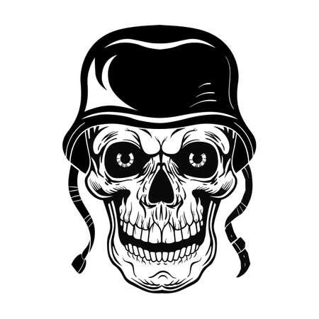 Vintage skull of soldier vector illustration