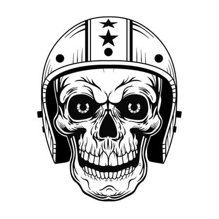 Vintage skull in helmet vector illustration