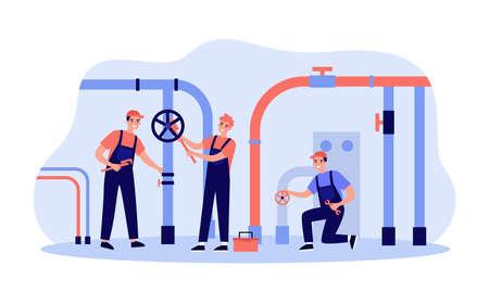 Happy plumbers fixing leakage in boiler room