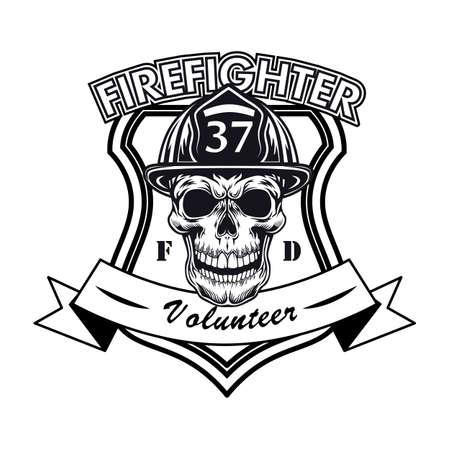Firefighter volunteer badge with skull vector illustration
