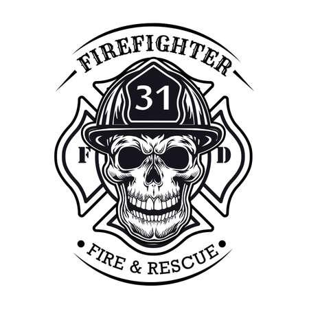 Firefighter badge with skull vector illustration