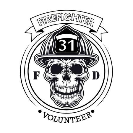 Firefighter volunteer emblem with skull vector illustration