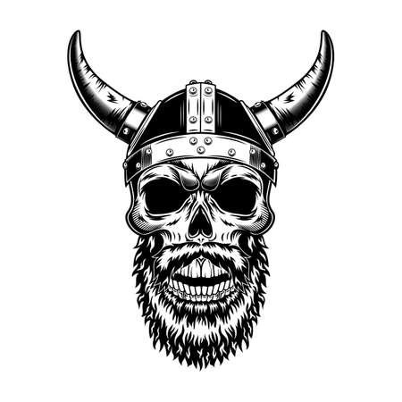 Nordic knight skull in horned helmet vector illustration