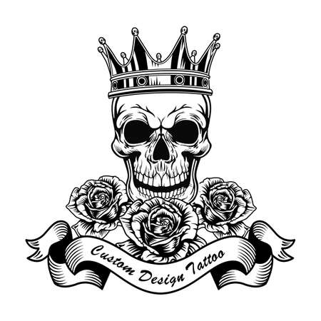 Black skull in crown and roses vector illustration Vektorové ilustrace