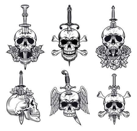 Black and white knife through skull vector illustration set