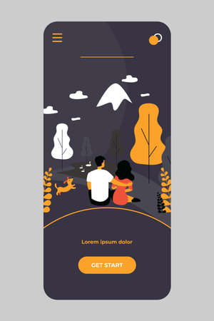Dating couples admiring landscape in mountains Ilustração Vetorial