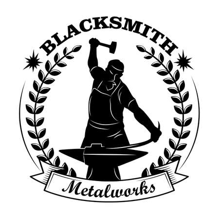 Blacksmith black silhouette vector illustration