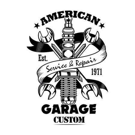 Car parts and spanners vector illustration Vetores