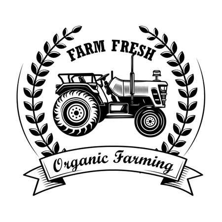Organic farming award vector illustration