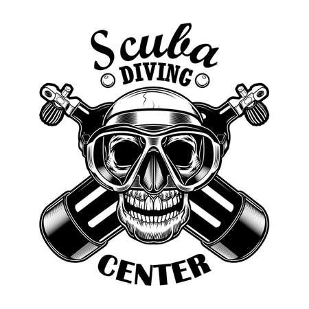 Scuba diver skull vector illustration
