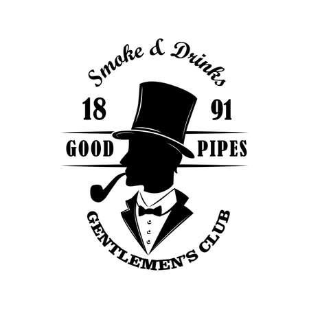 Gentlemens club vintage emblem vector illustration