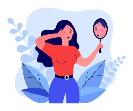 Woman finding rash on her face Vector Illustration