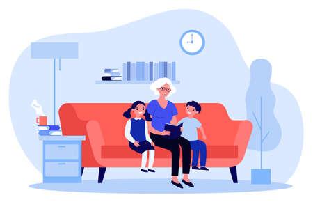 Grandma reading fairytale to kids Ilustración de vector