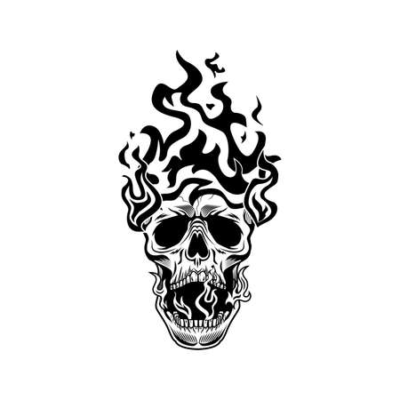 Burning head of skeleton vector illustration