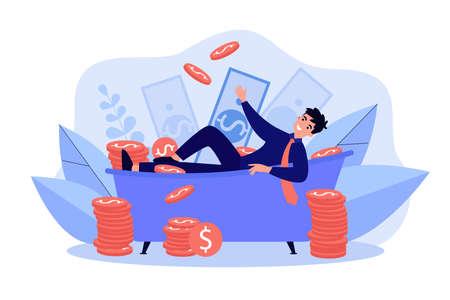 Successful millionaire bathing in money Иллюстрация