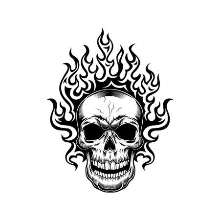 Skull and flame vector illustration