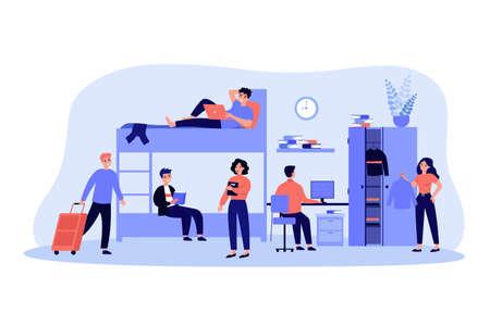 Dorm room for living, sleeping and studying in academic year Ilustração Vetorial