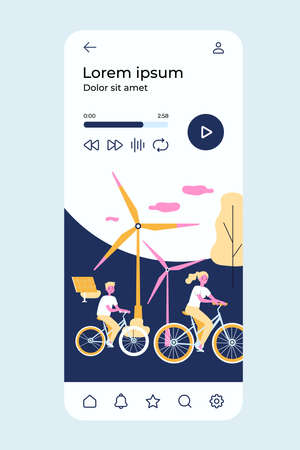 People riding bikes by windmills 向量圖像