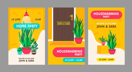 Housewarming party invitation cards set