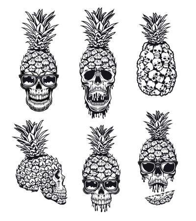 Skulls with pineapple peel vector illustrations set Ilustração Vetorial