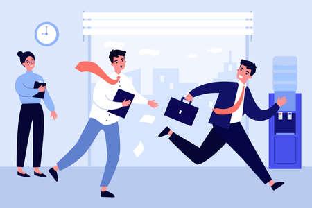 Office worker running after colleague Illusztráció