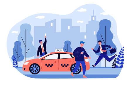 Businesspeople struggling for taxi Illusztráció